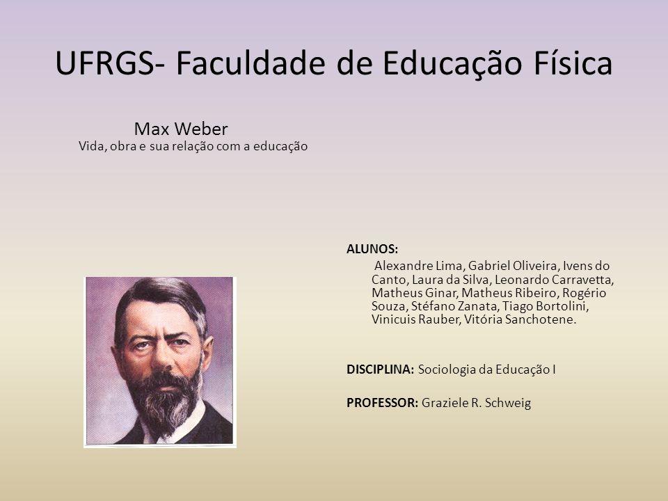 UFRGS- Faculdade de Educação Física Max Weber Vida, obra e sua relação com a educação ALUNOS: Alexandre Lima, Gabriel Oliveira, Ivens do Canto, Laura