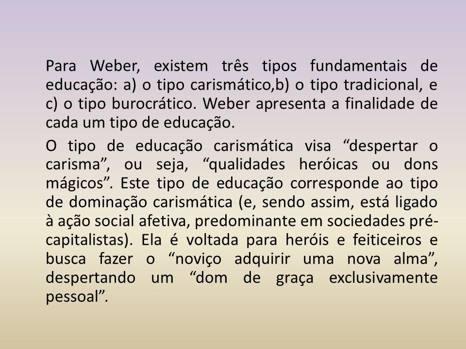 Para Weber, existem três tipos fundamentais de educação: a) o tipo carismático,b) o tipo tradicional, e c) o tipo burocrático. Weber apresenta a final
