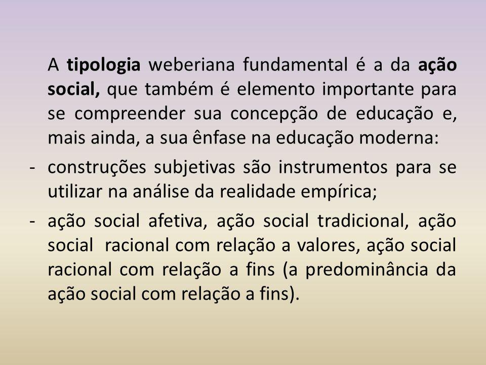 A tipologia weberiana fundamental é a da ação social, que também é elemento importante para se compreender sua concepção de educação e, mais ainda, a