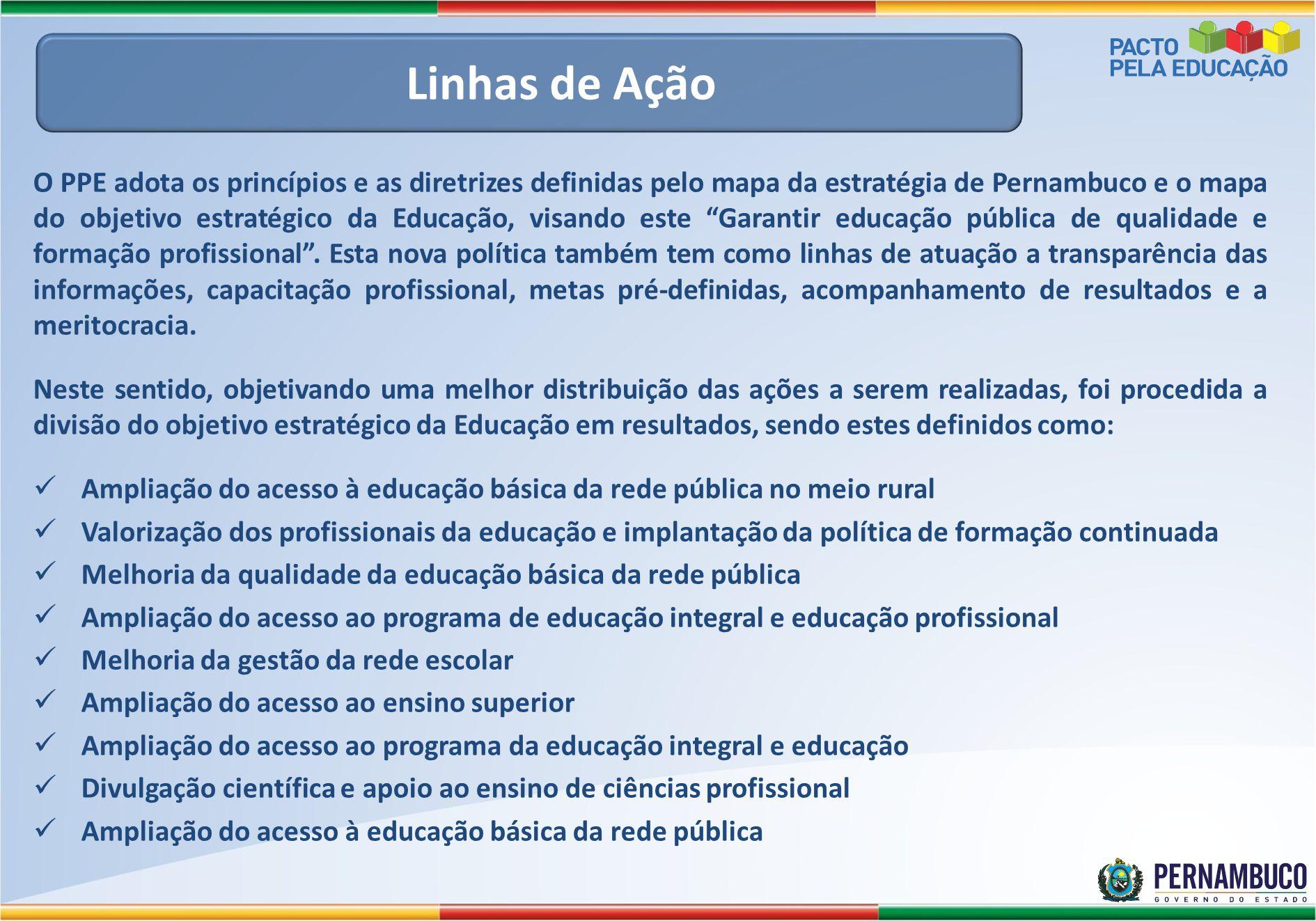 """O PPE adota os princípios e as diretrizes definidas pelo mapa da estratégia de Pernambuco e o mapa do objetivo estratégico da Educação, visando este """""""