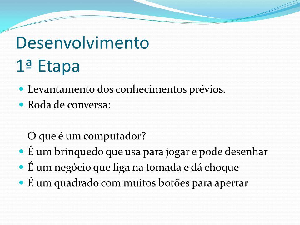 Desenvolvimento 1ª Etapa Levantamento dos conhecimentos prévios.