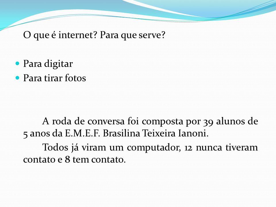 O que é internet? Para que serve? Para digitar Para tirar fotos A roda de conversa foi composta por 39 alunos de 5 anos da E.M.E.F. Brasilina Teixeira