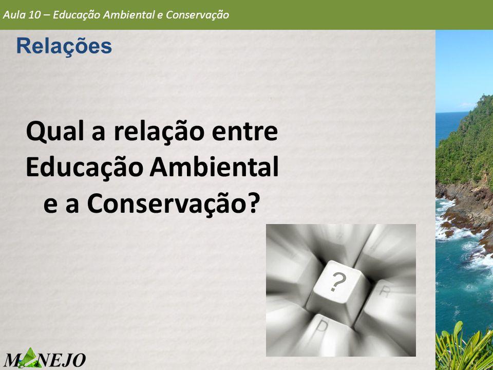 Relações Qual a relação entre Educação Ambiental e a Conservação? Aula 10 – Educação Ambiental e Conservação