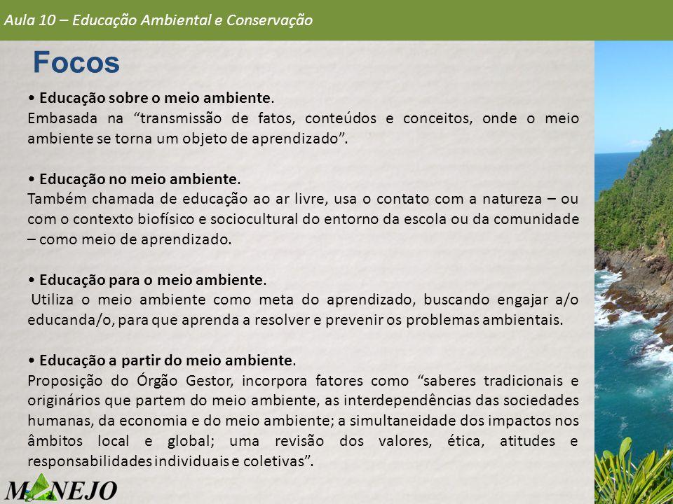 Aula 10 – Educação Ambiental e Conservação Focos Educação sobre o meio ambiente.