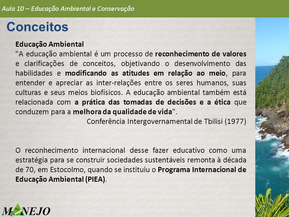 Educação Ambiental A educação ambiental é um processo de reconhecimento de valores e clarificações de conceitos, objetivando o desenvolvimento das habilidades e modificando as atitudes em relação ao meio, para entender e apreciar as inter-relações entre os seres humanos, suas culturas e seus meios biofísicos.