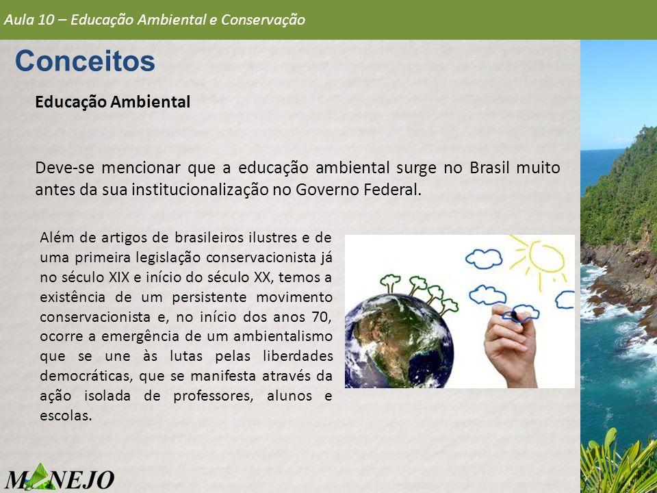 Educação Ambiental Deve-se mencionar que a educação ambiental surge no Brasil muito antes da sua institucionalização no Governo Federal. Conceitos Aul
