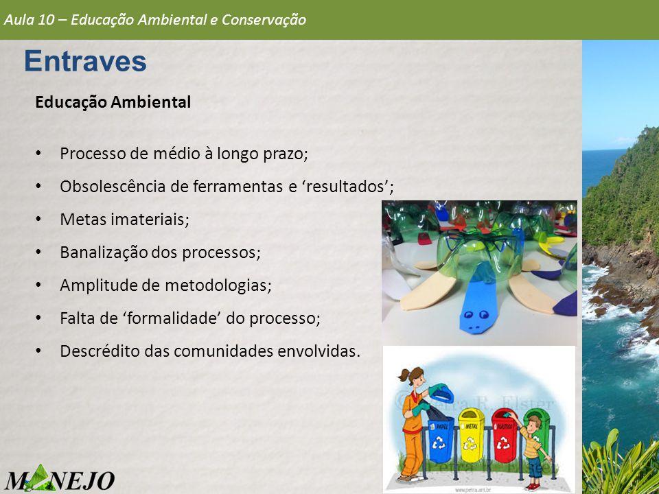 Entraves Aula 10 – Educação Ambiental e Conservação Educação Ambiental Processo de médio à longo prazo; Obsolescência de ferramentas e 'resultados'; M