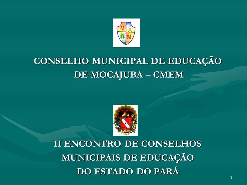 II ENCONTRO DE CONSELHOS MUNICIPAIS DE EDUCAÇÃO DO ESTADO DO PARÁ ROSIEL SABÁ COSTAROSIEL SABÁ COSTA Prefeito MunicipalPrefeito Municipal ROSILDA SABBÁ COSTA FARIASROSILDA SABBÁ COSTA FARIAS Secretária Municipal de EducaçãoSecretária Municipal de Educação DIOLENO COELHO PEREIRADIOLENO COELHO PEREIRA Presidente do Conselho Municipal de EducaçãoPresidente do Conselho Municipal de Educação MARIA OZANIRA MENEZESMARIA OZANIRA MENEZES Secretária do Conselho Municipal de EducaçãoSecretária do Conselho Municipal de Educação 2