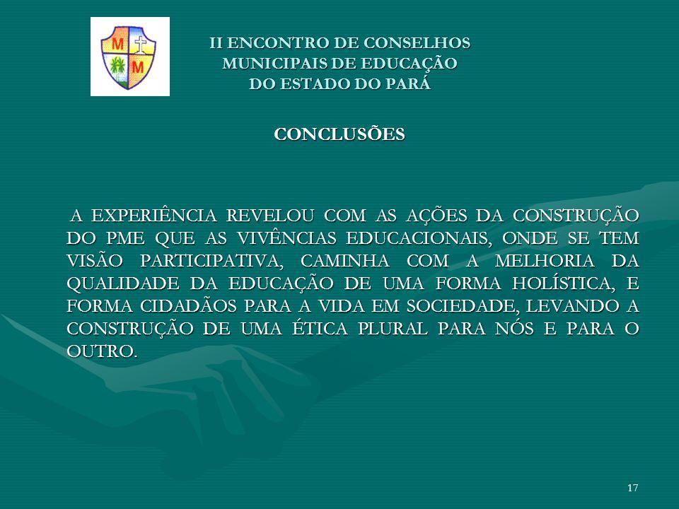 II ENCONTRO DE CONSELHOS MUNICIPAIS DE EDUCAÇÃO DO ESTADO DO PARÁ CONCLUSÕES A EXPERIÊNCIA REVELOU COM AS AÇÕES DA CONSTRUÇÃO DO PME QUE AS VIVÊNCIAS
