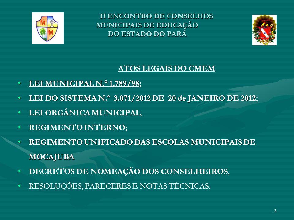 II ENCONTRO DE CONSELHOS MUNICIPAISDE EDUCAÇÃO DO ESTADO DO PARÁ II ENCONTRO DE CONSELHOS MUNICIPAISDE EDUCAÇÃO DO ESTADO DO PARÁ PRINCIPAIS ATUAÇÕES * REALIZAÇÃO DA 1ª, 2ª, 3ª e 4ª CONFERÊNCIAS MUNICIPAL DE EDUCAÇÃO (2006, 2008, 2010, 2012 E 2013): * DISCUTIR PROBLEMÁTICAS DA REALIDADE EDUCACIONAL NO MUNICÍPIO (ÁREA URBANA E RURAL); CONSTRUÇÃO DE PROPOSTAS PARA POLÍTICAS PÚBLICAS MUNICIPAIS (ATUAÇÃO DO EXECUTIVO); METAS E ESTRATÉGIAS PARA ELABORAÇÃO DO PLANO MUNICIPAL DE EDUCAÇÃO - PME; METAS E ESTRATÉGIAS PARA ELABORAÇÃO DO PLANO MUNICIPAL DE EDUCAÇÃO - PME; DISCUTIR E DEBATER PROPOSIÇÕES AO PLANO DE CARGOS, CARREIRA E REMUNERAÇÃO DOS TRABALHADORES EM EDUCAÇÃO- PCCR.