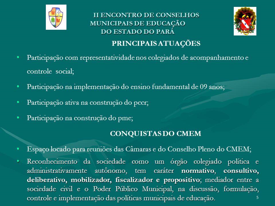 Ii ENCONTRO DE CONSELHOS MUNICIPAIS DE EDUCAÇÃO DO ESTADO DO PARÁ Ii ENCONTRO DE CONSELHOS MUNICIPAIS DE EDUCAÇÃO DO ESTADO DO PARÁ ENTIDADES PARTICIPANTES NA CONSTRUÇÃO DO PME SEMEDSEMED CMECME UFPAUFPA SINTEPPSINTEPP DIOCESE CAE 6