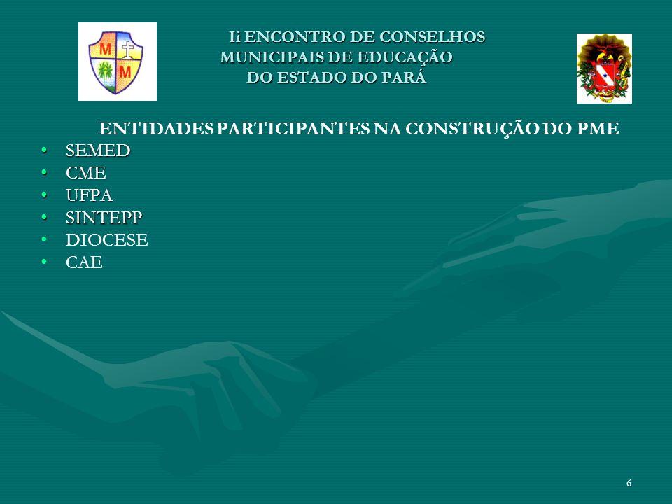II ENCONTRO DE CONSELHOS MUNICIPAIS DE EDUCAÇÃO DO ESTADO DO PARÁ II ENCONTRO DE CONSELHOS MUNICIPAIS DE EDUCAÇÃO DO ESTADO DO PARÁ MOBILIZAÇÃO PARA CONSTRUÇÃO DO PME MOBILIZAÇÃO PARA CONSTRUÇÃO DO PME Reunião c/ Diretoria de Ensino e Coordenações de setores da SEMED p/ definição da proposta de estrutura do PME de Mocajuba (JAN /2012);Reunião c/ Diretoria de Ensino e Coordenações de setores da SEMED p/ definição da proposta de estrutura do PME de Mocajuba (JAN /2012); Reunião c/as instituições participantes p/ levantamento de dados da realidade da educação no município;Reunião c/as instituições participantes p/ levantamento de dados da realidade da educação no município; Formação das Equipes de Coordenação Executiva do PME;Formação das Equipes de Coordenação Executiva do PME; Momentos para estudo sobre abordagens que envolvem a construção coletiva com equipes internas do CME e SEMED e entidades participantes da construção do PME;Momentos para estudo sobre abordagens que envolvem a construção coletiva com equipes internas do CME e SEMED e entidades participantes da construção do PME; Mobilização educativa nas Escolas, Secretarias, Instituições de Serviço Público, Organizações Colegiadas, Associações para divulgação do processo de construção do PME;Mobilização educativa nas Escolas, Secretarias, Instituições de Serviço Público, Organizações Colegiadas, Associações para divulgação do processo de construção do PME; 7