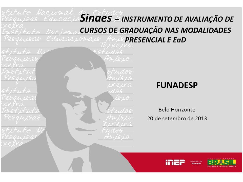 Sinaes – INSTRUMENTO DE AVALIAÇÃO DE CURSOS DE GRADUAÇÃO NAS MODALIDADES PRESENCIAL E EaD FUNADESP Belo Horizonte 20 de setembro de 2013