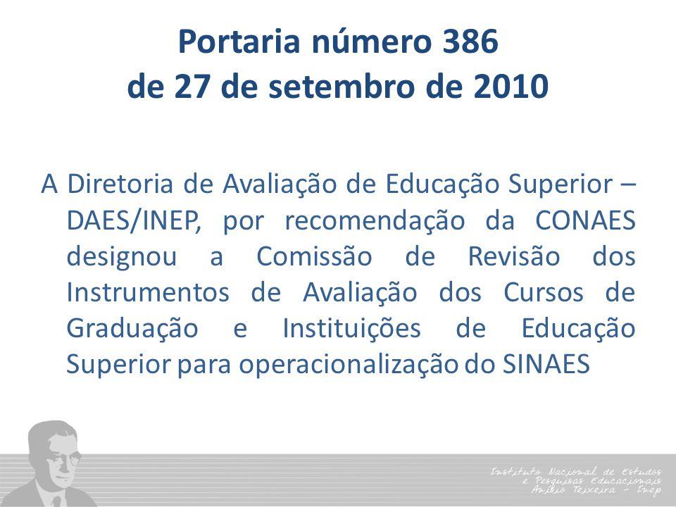 Portaria número 386 de 27 de setembro de 2010 A Diretoria de Avaliação de Educação Superior – DAES/INEP, por recomendação da CONAES designou a Comissã