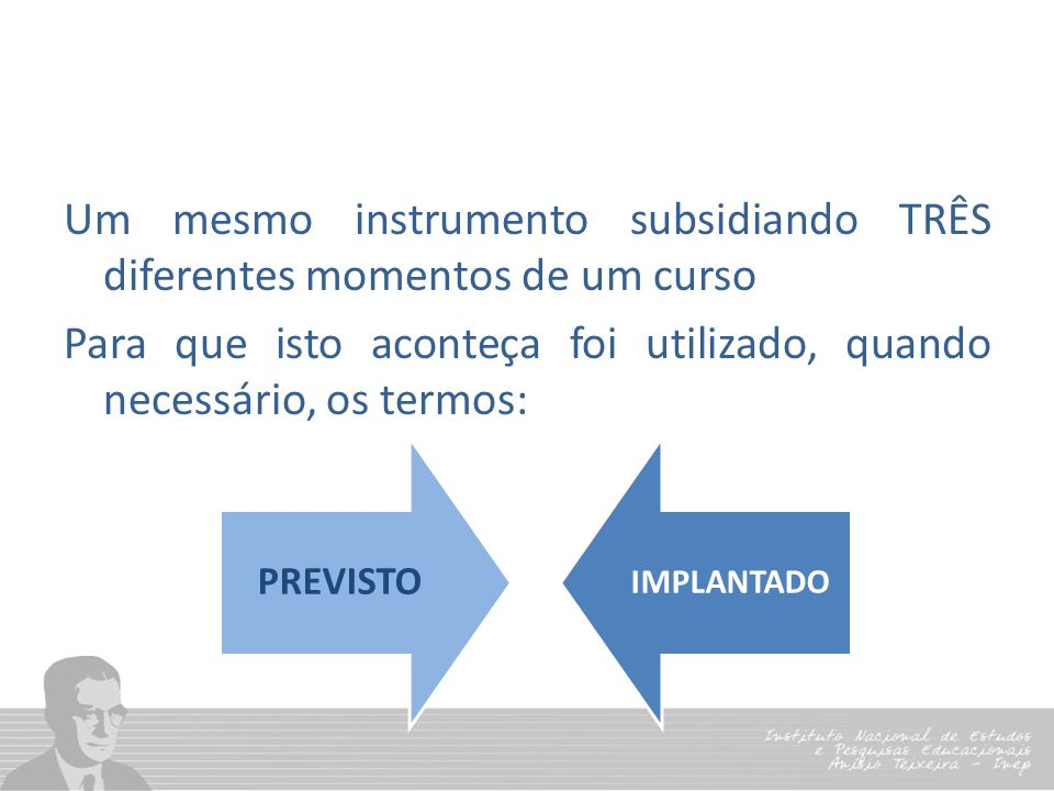 Um mesmo instrumento subsidiando TRÊS diferentes momentos de um curso Para que isto aconteça foi utilizado, quando necessário, os termos: PREVISTO IMP