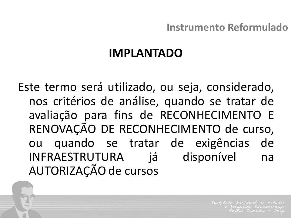 Instrumento Reformulado IMPLANTADO Este termo será utilizado, ou seja, considerado, nos critérios de análise, quando se tratar de avaliação para fins