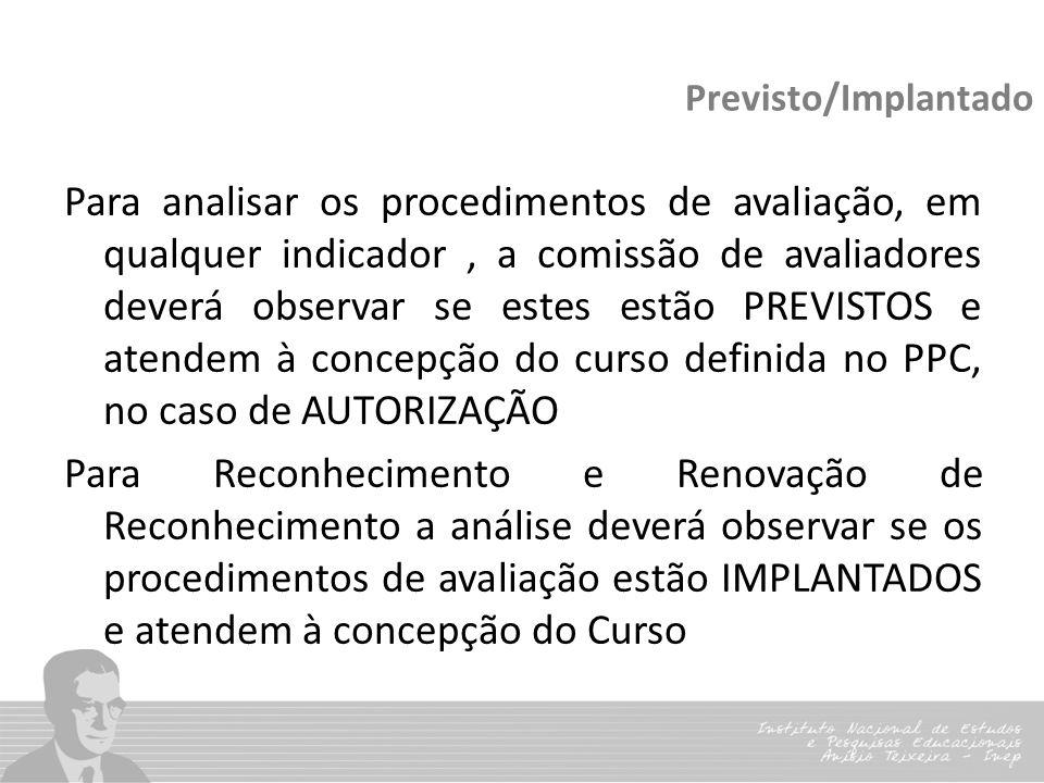 Previsto/Implantado Para analisar os procedimentos de avaliação, em qualquer indicador, a comissão de avaliadores deverá observar se estes estão PREVI