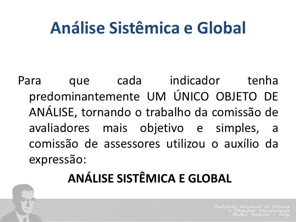 Análise Sistêmica e Global Para que cada indicador tenha predominantemente UM ÚNICO OBJETO DE ANÁLISE, tornando o trabalho da comissão de avaliadores