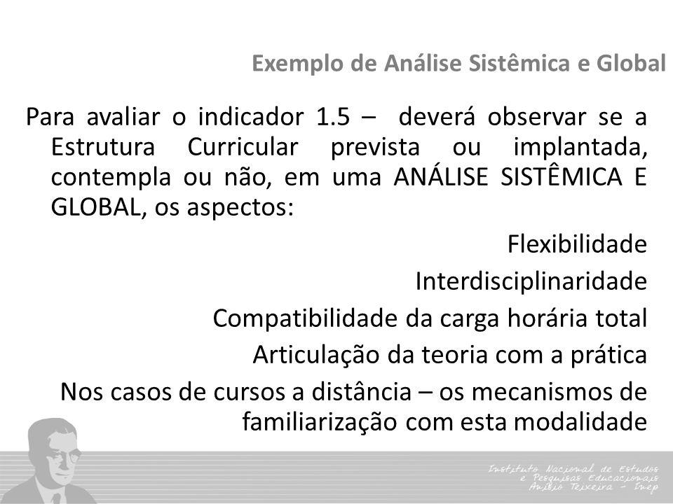 Exemplo de Análise Sistêmica e Global Para avaliar o indicador 1.5 – deverá observar se a Estrutura Curricular prevista ou implantada, contempla ou nã
