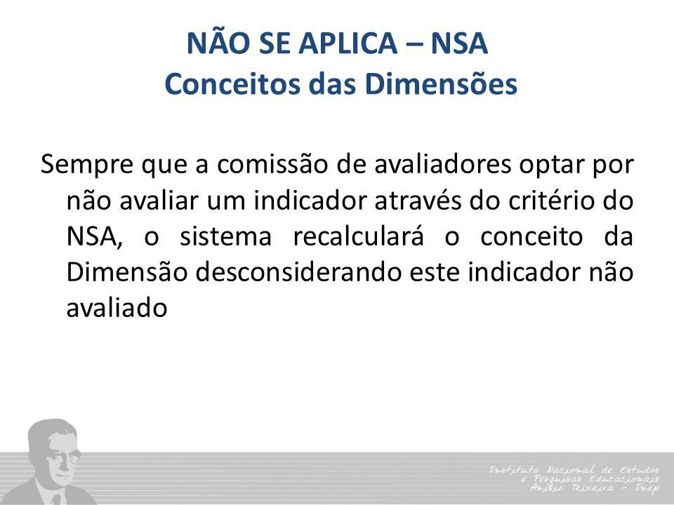NÃO SE APLICA – NSA Conceitos das Dimensões Sempre que a comissão de avaliadores optar por não avaliar um indicador através do critério do NSA, o sist
