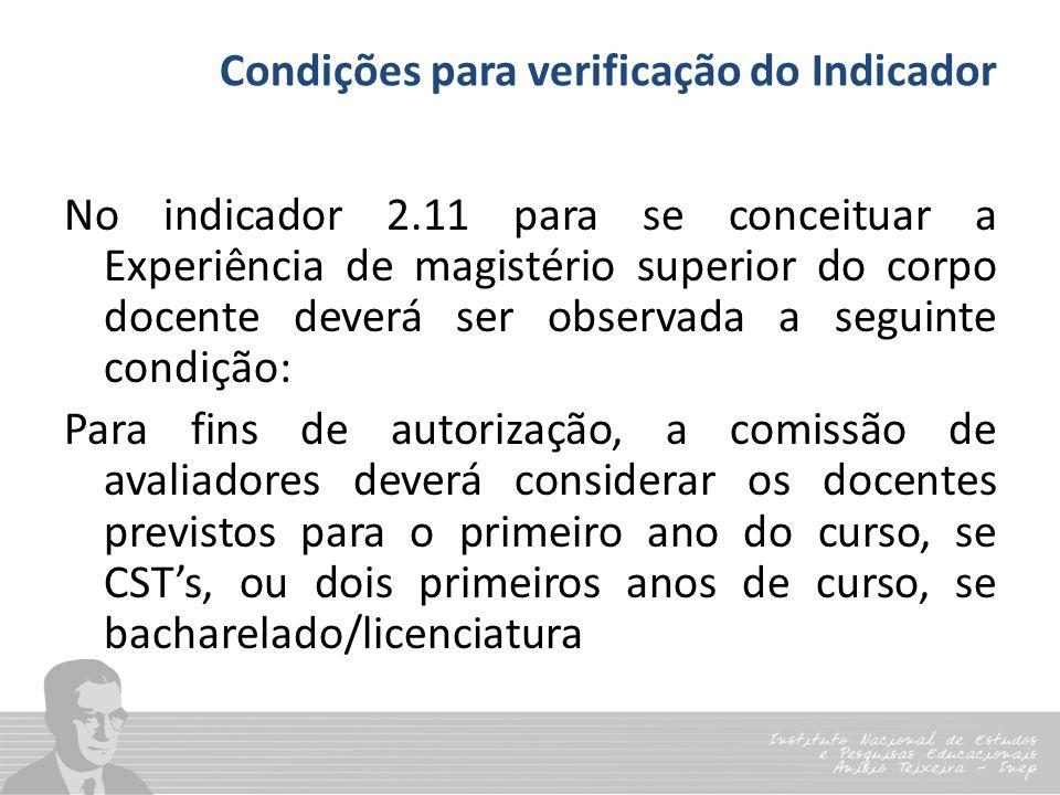 Condições para verificação do Indicador No indicador 2.11 para se conceituar a Experiência de magistério superior do corpo docente deverá ser observad