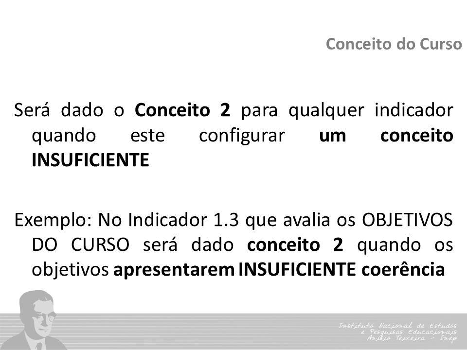 Conceito do Curso Será dado o Conceito 2 para qualquer indicador quando este configurar um conceito INSUFICIENTE Exemplo: No Indicador 1.3 que avalia