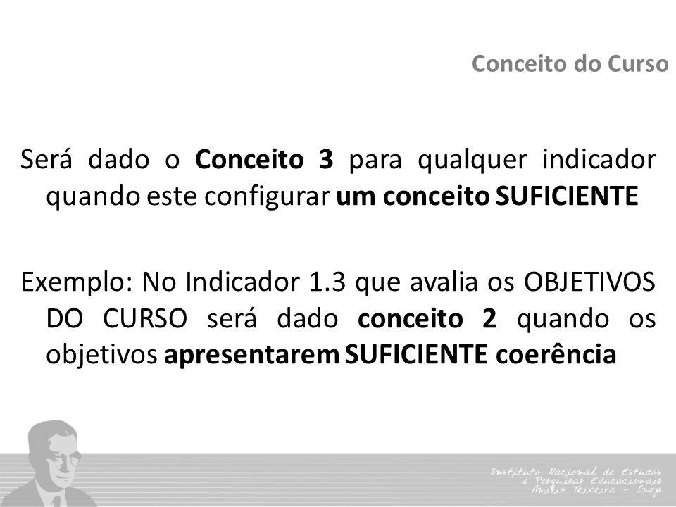 Conceito do Curso Será dado o Conceito 3 para qualquer indicador quando este configurar um conceito SUFICIENTE Exemplo: No Indicador 1.3 que avalia os