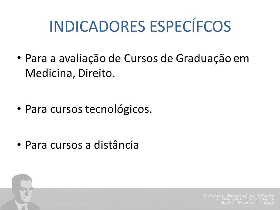 INDICADORES ESPECÍFCOS Para a avaliação de Cursos de Graduação em Medicina, Direito. Para cursos tecnológicos. Para cursos a distância