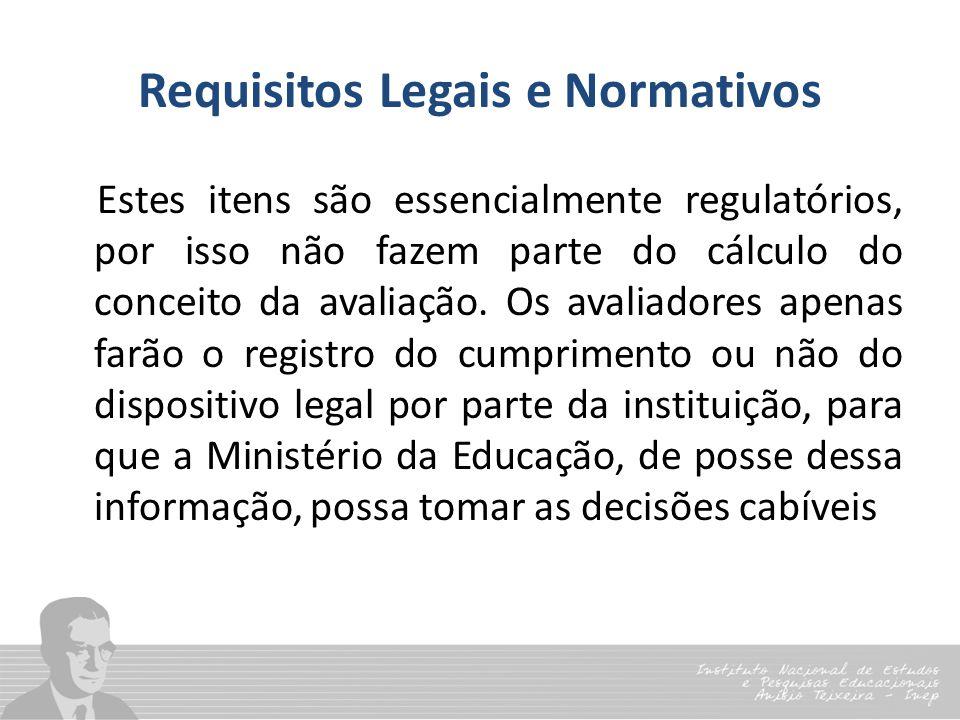 Requisitos Legais e Normativos Estes itens são essencialmente regulatórios, por isso não fazem parte do cálculo do conceito da avaliação. Os avaliador