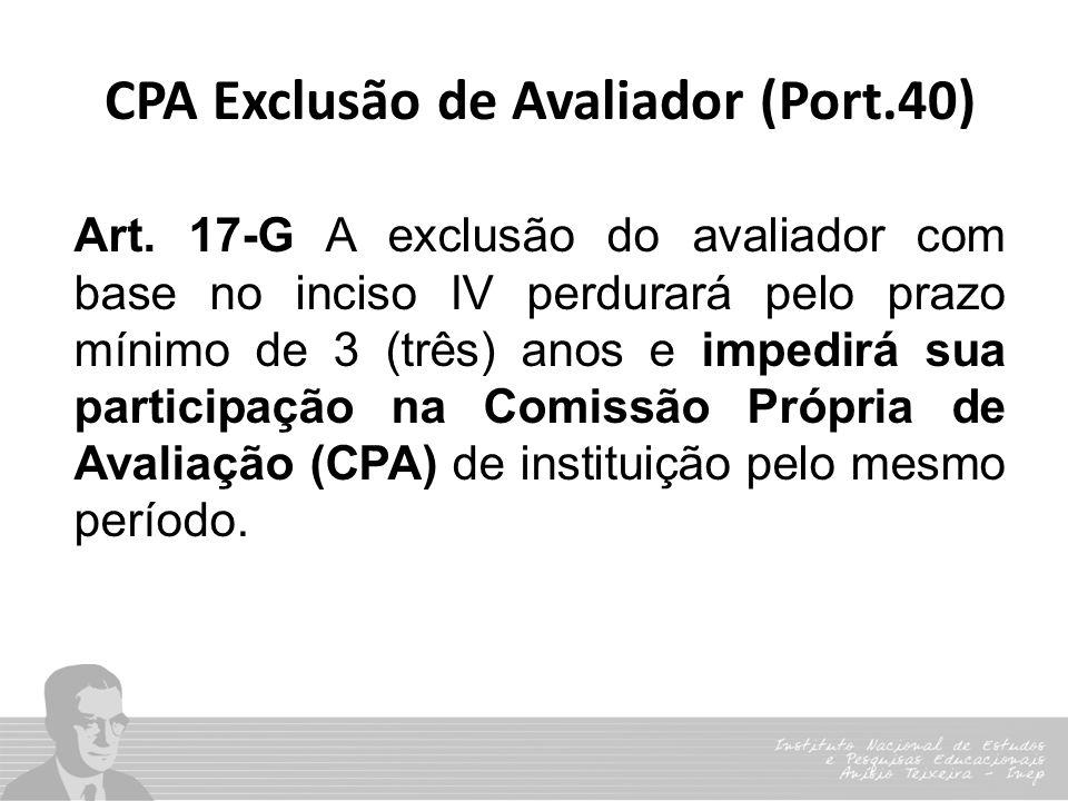 Art. 17-G A exclusão do avaliador com base no inciso IV perdurará pelo prazo mínimo de 3 (três) anos e impedirá sua participação na Comissão Própria d