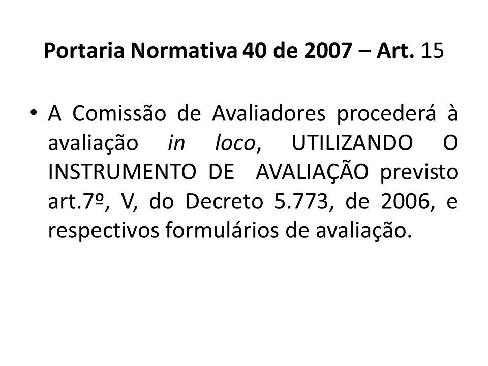 A Comissão de Avaliadores procederá à avaliação in loco, UTILIZANDO O INSTRUMENTO DE AVALIAÇÃO previsto art.7º, V, do Decreto 5.773, de 2006, e respec
