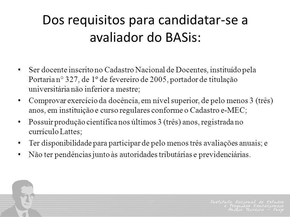 Dos requisitos para candidatar-se a avaliador do BASis: Ser docente inscrito no Cadastro Nacional de Docentes, instituído pela Portaria n° 327, de 1º