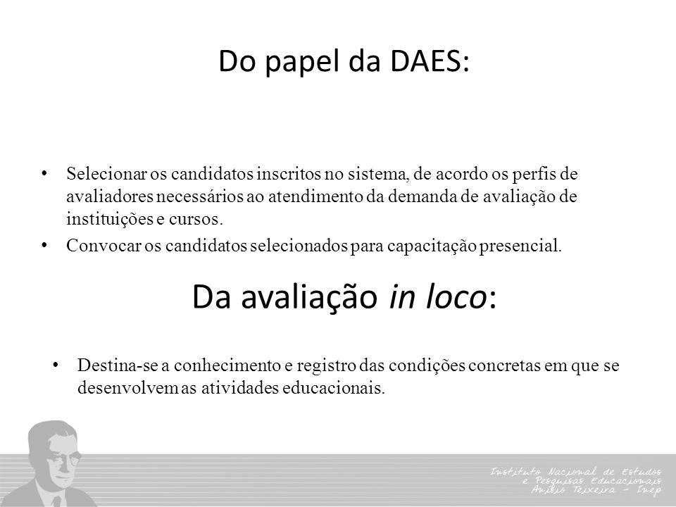 Do papel da DAES: Selecionar os candidatos inscritos no sistema, de acordo os perfis de avaliadores necessários ao atendimento da demanda de avaliação