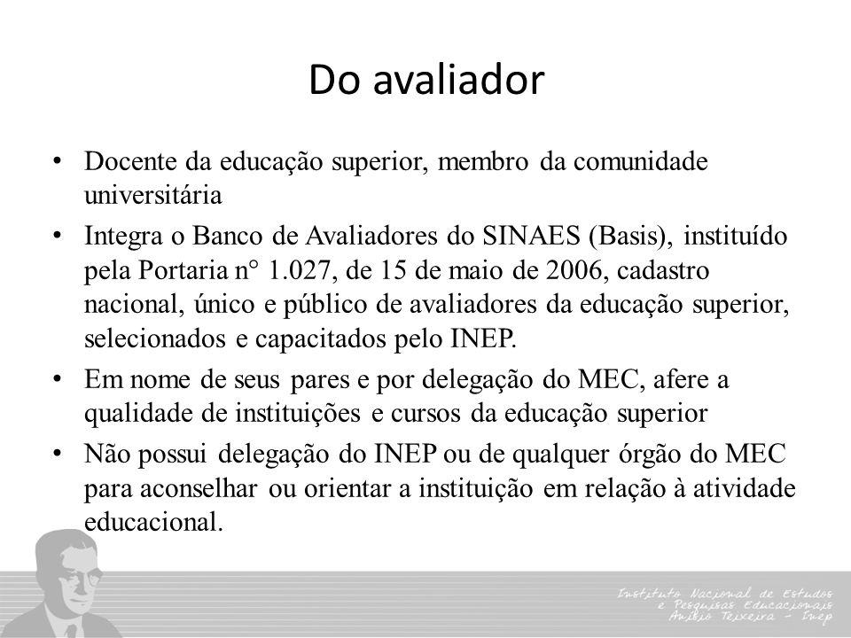 Do avaliador Docente da educação superior, membro da comunidade universitária Integra o Banco de Avaliadores do SINAES (Basis), instituído pela Portar