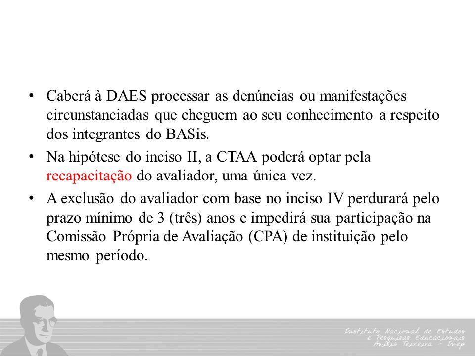 Caberá à DAES processar as denúncias ou manifestações circunstanciadas que cheguem ao seu conhecimento a respeito dos integrantes do BASis. Na hipótes
