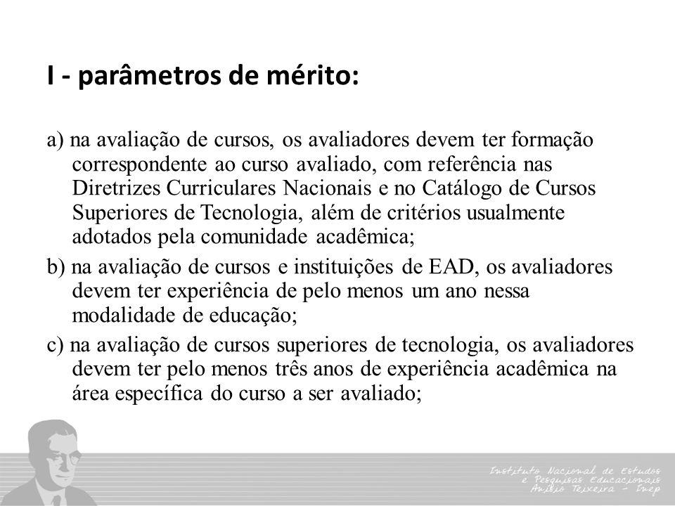 I - parâmetros de mérito: a) na avaliação de cursos, os avaliadores devem ter formação correspondente ao curso avaliado, com referência nas Diretrizes