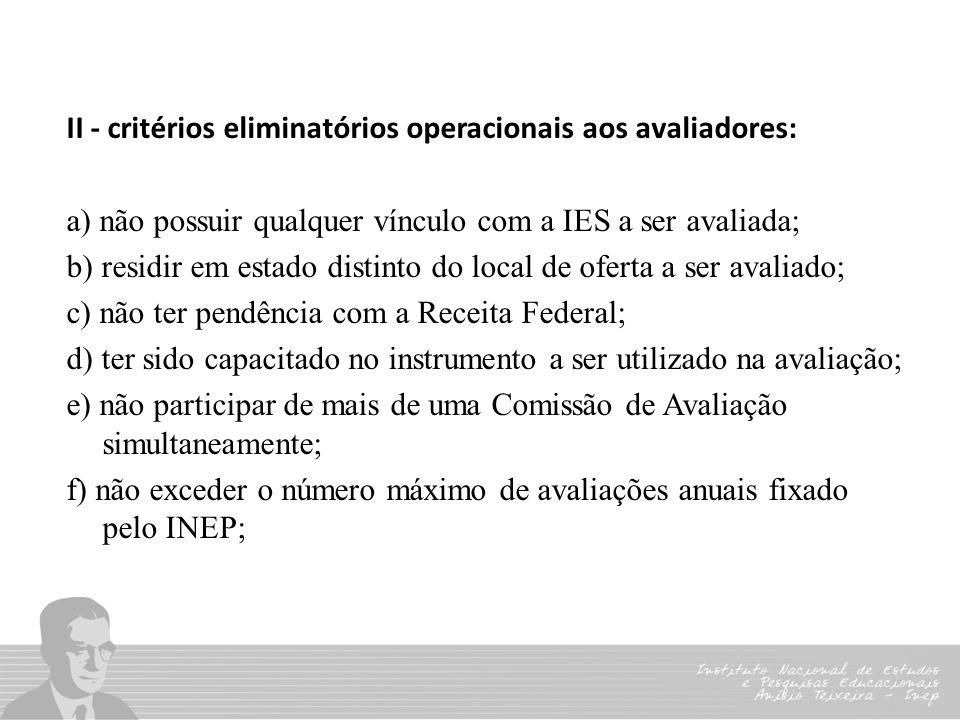 II - critérios eliminatórios operacionais aos avaliadores: a) não possuir qualquer vínculo com a IES a ser avaliada; b) residir em estado distinto do