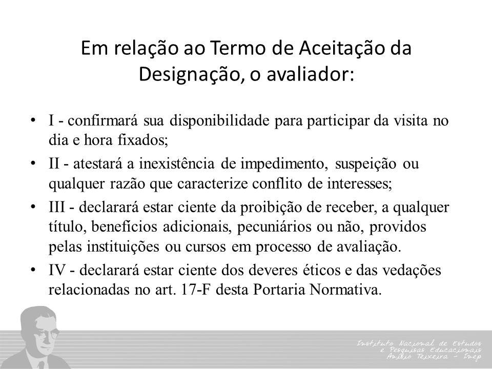 Em relação ao Termo de Aceitação da Designação, o avaliador: I - confirmará sua disponibilidade para participar da visita no dia e hora fixados; II -