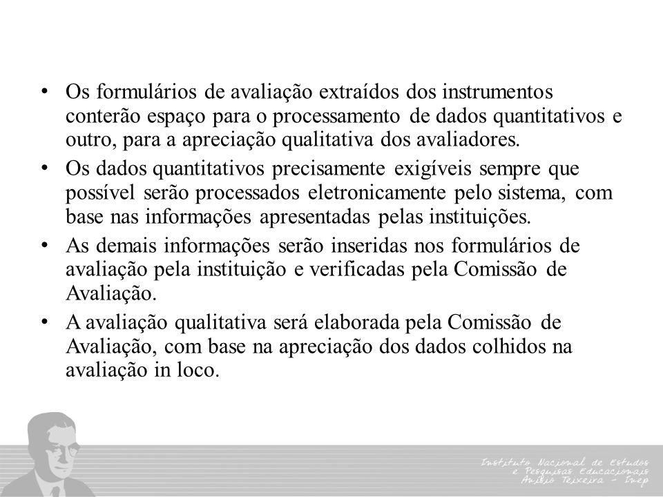 Os formulários de avaliação extraídos dos instrumentos conterão espaço para o processamento de dados quantitativos e outro, para a apreciação qualitat