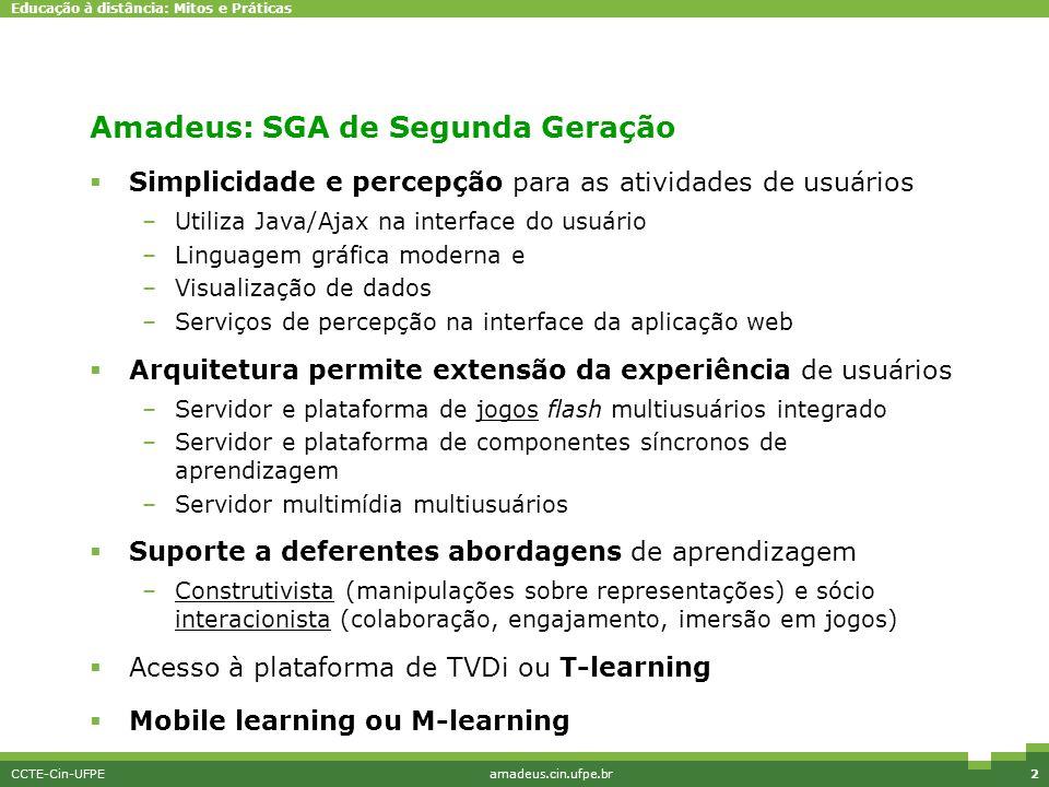Educação à distância: Mitos e Práticas CCTE-Cin-UFPEamadeus.cin.ufpe.br2 Amadeus: SGA de Segunda Geração  Simplicidade e percepção para as atividades