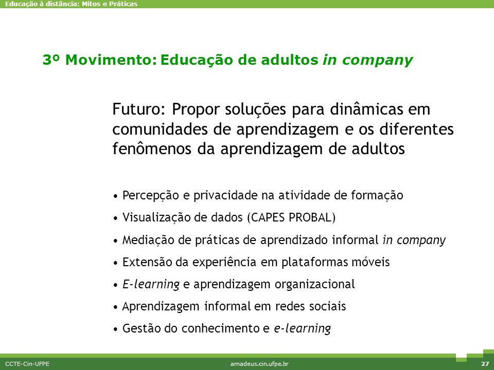 Educação à distância: Mitos e Práticas CCTE-Cin-UFPEamadeus.cin.ufpe.br27 Pesquisa e Inovação Futuro: Propor soluções para dinâmicas em comunidades de