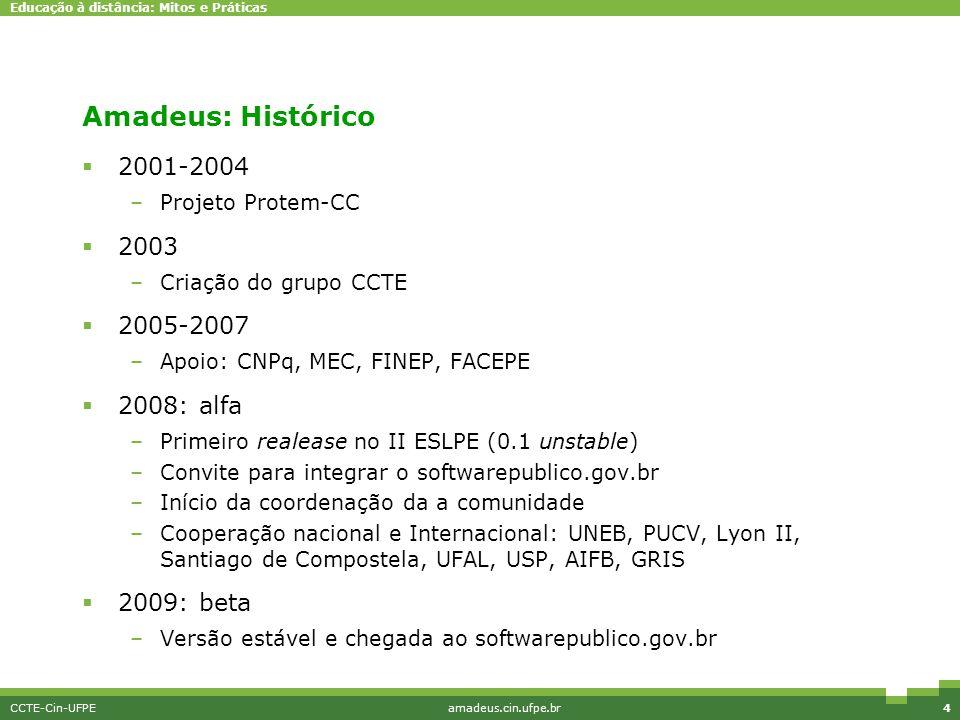 Educação à distância: Mitos e Práticas CCTE-Cin-UFPEamadeus.cin.ufpe.br4 Amadeus: Histórico  2001-2004 –Projeto Protem-CC  2003 –Criação do grupo CC