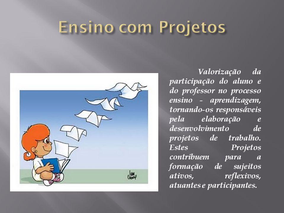 Valorização da participação do aluno e do professor no processo ensino - aprendizagem, tornando-os responsáveis pela elaboração e desenvolvimento de p