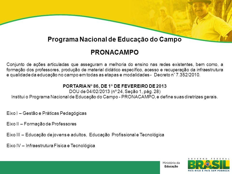 Programa Nacional de Educação do Campo PRONACAMPO Conjunto de ações articuladas que asseguram a melhoria do ensino nas redes existentes, bem como, a f
