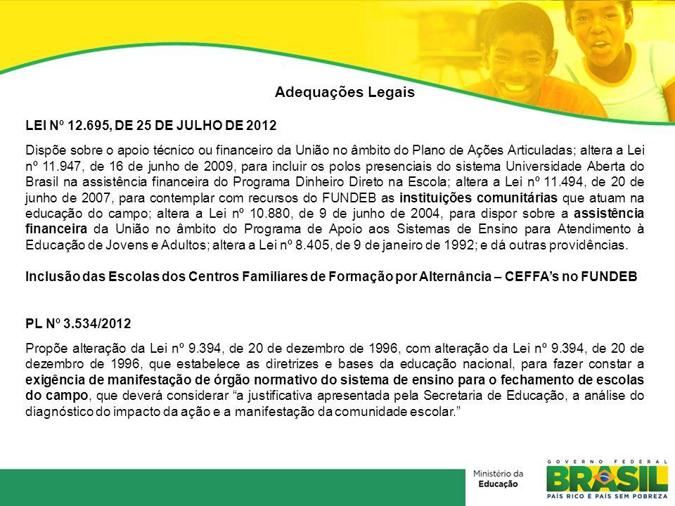 Adequações Legais LEI Nº 12.695, DE 25 DE JULHO DE 2012 Dispõe sobre o apoio técnico ou financeiro da União no âmbito do Plano de Ações Articuladas; a