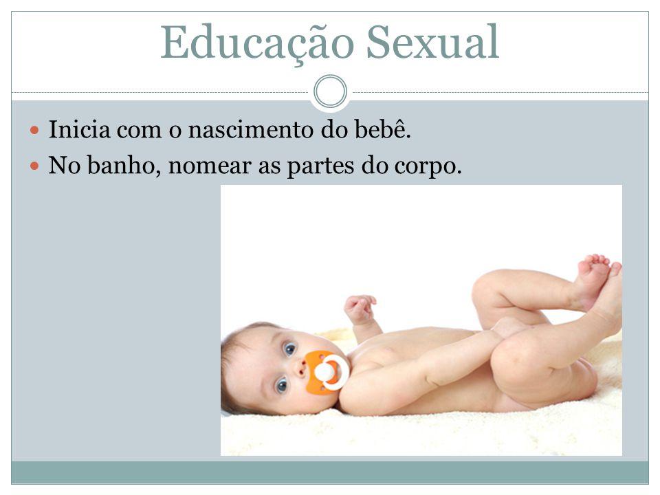 Educação Sexual Inicia com o nascimento do bebê.No banho, nomear as partes do corpo.