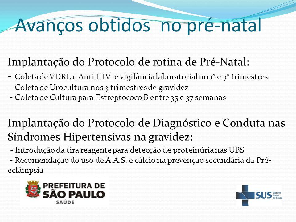 Avanços obtidos no pré-natal Implantação do Protocolo de rotina de Pré-Natal: - Coleta de VDRL e Anti HIV e vigilância laboratorial no 1º e 3º trimest