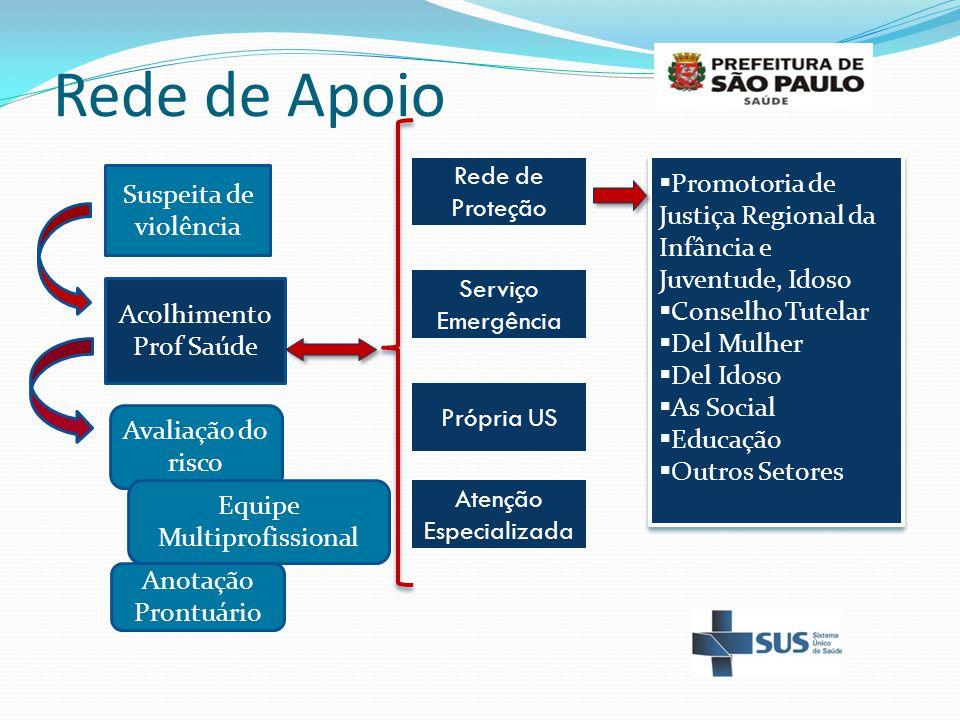 Rede de Apoio Suspeita de violência Avaliação do risco Acolhimento Prof Saúde Rede de Proteção  Promotoria de Justiça Regional da Infância e Juventud