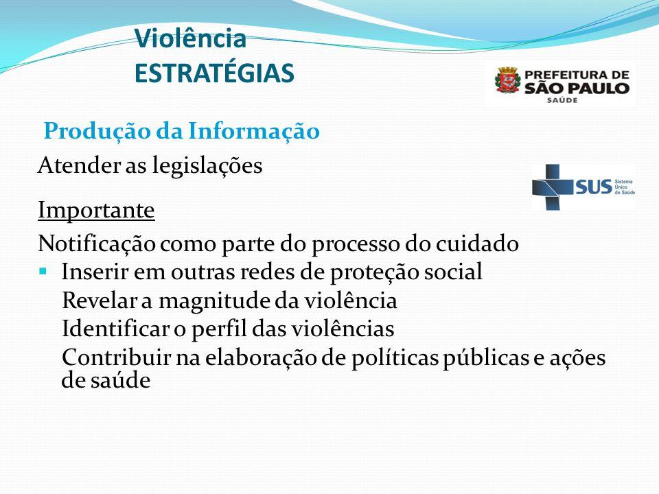Violência ESTRATÉGIAS Produção da Informação Atender as legislações Importante Notificação como parte do processo do cuidado  Inserir em outras redes