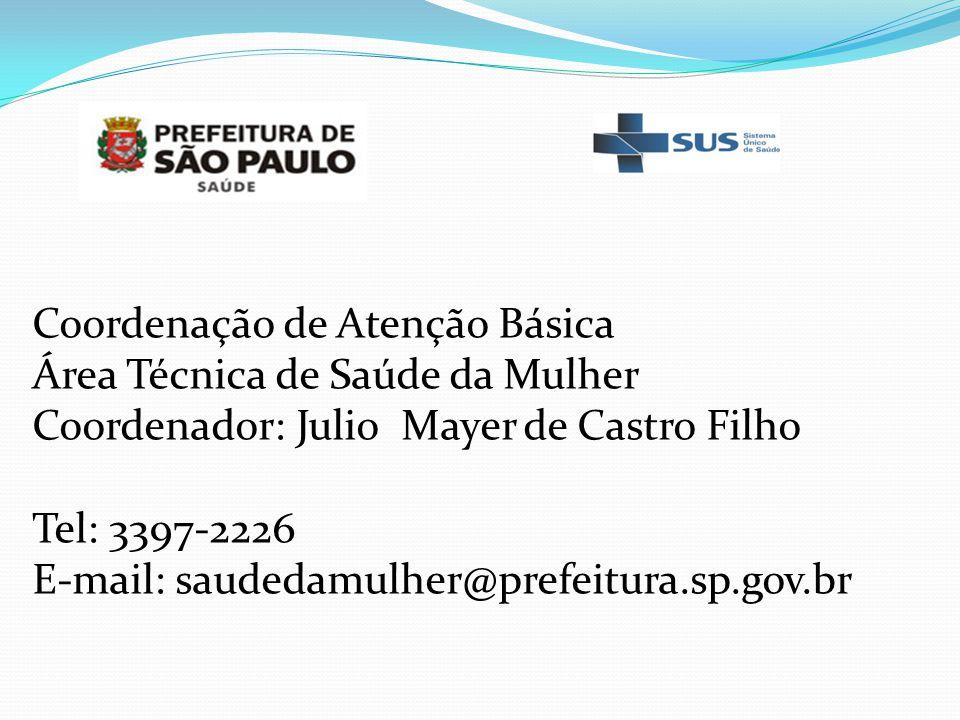 Coordenação de Atenção Básica Área Técnica de Saúde da Mulher Coordenador: Julio Mayer de Castro Filho Tel: 3397-2226 E-mail: saudedamulher@prefeitura
